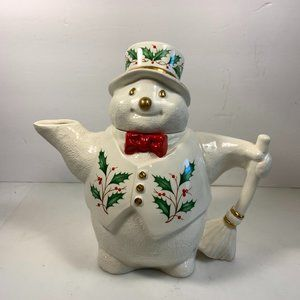 Lenox Holiday Snowman Teapot Christmas Holly Berry